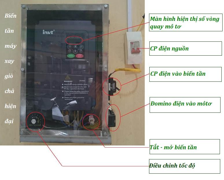 hướng dẩn lắp đặt biến tần máy xay giò chả lụa công nghiệp 01